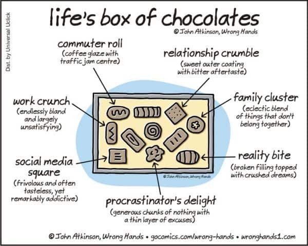 """life is like a box of """"mama always said life was like a box of chocolates you never know what you're  gonna get"""" – forrest gump mama gump's motherly advice."""