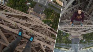 Ohne Sicherheitsvorkehrungen den Eiffelturm hochklettern