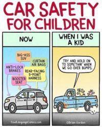 Sicherheit für Kinder im Auto: Damals und heute