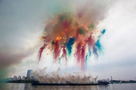 Firework of colors in daylight