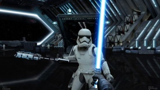 Alignment with the lightsaber: Google Chrome Game makes smartphone for lightsaber