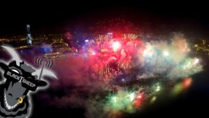 With the drone through New Year's fireworks over Hong Kong