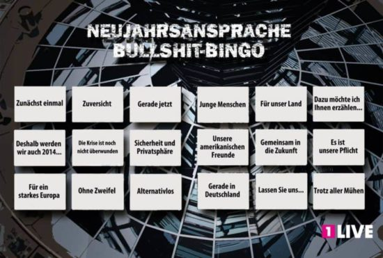 The big New Year's speech Bullshit Bingo