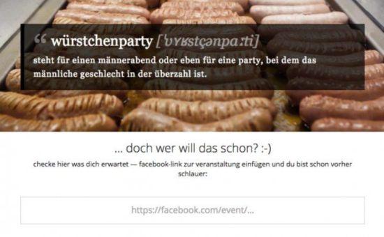 Würstchenparty Tool prüft Partys und warnt vor Männerüberschuss