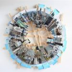 City panoramas from 3D photo collages by Isidro Blasco