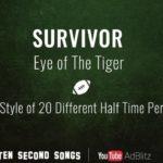 """Survivor's """"Olho do tigre"""" no estilo de 20 diferente, bekannten Künstlern"""