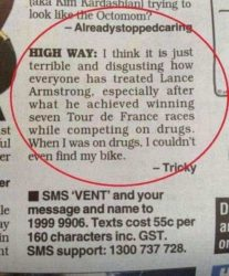 Tricky on Lance Armstrong