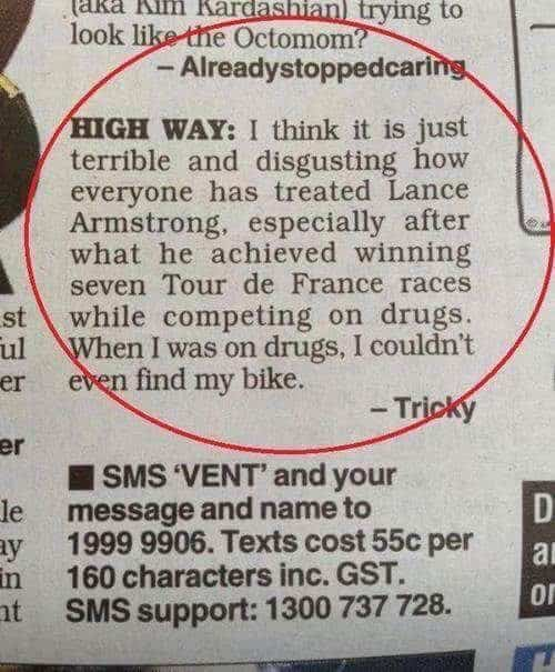 Tricky su Lance Armstrong
