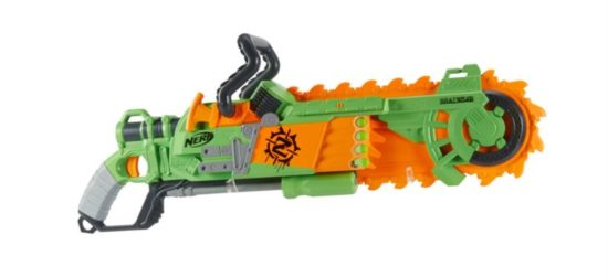 Zombie Strike Brainsaw Blaster Nerf is a rifle with foam chainsaw