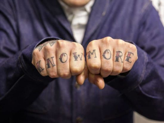 Edward Bishops Knuckle Tattoos