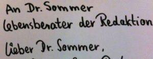 Lieber Dr. Summer ...