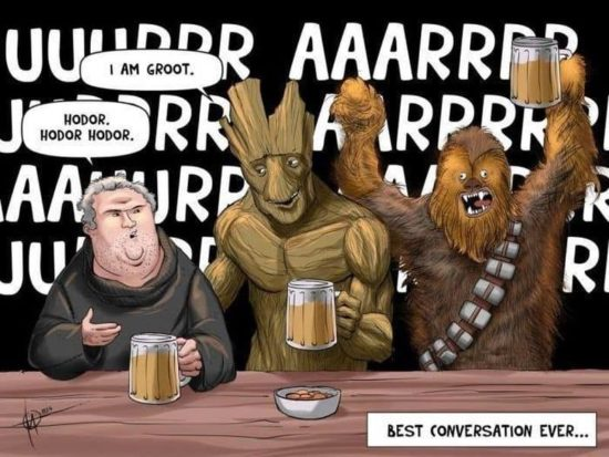 Chewbacca, Groot och Hodor går in i en bar ...
