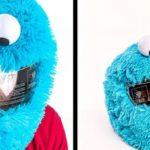 The Cookie Monster as motorcycle helmet