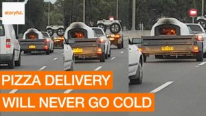 Recently in Australia: Burning Pizza Oven on the highway
