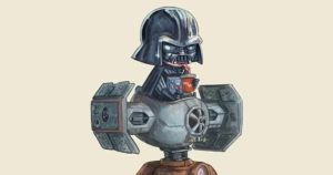 Patrick Ballesteros droll pop culture figures on driving machines