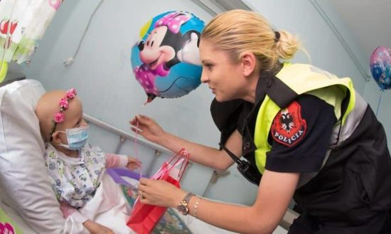 Albanian police surprised as superhero child in hospital