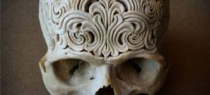 Ornately carved human skull