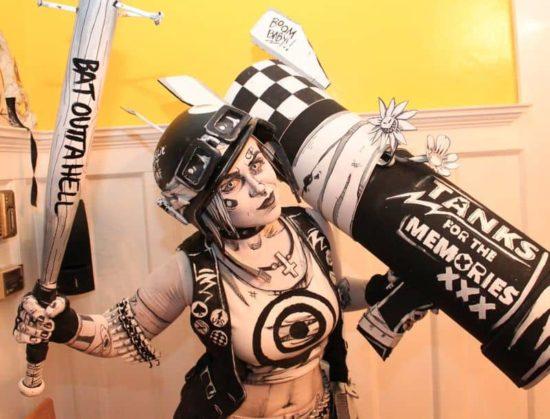 Schwarzweiss Tank Dziewczyna Comic Cosplay