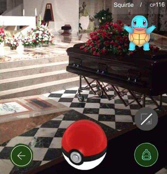 Pokémon GO begravelser