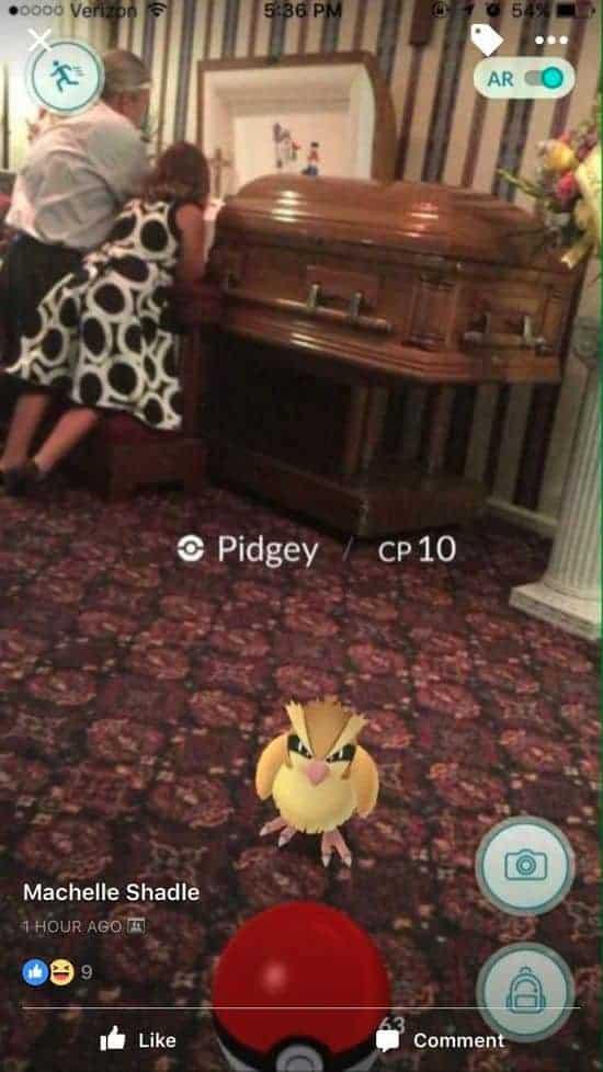 pogrzeby Pokémon GO