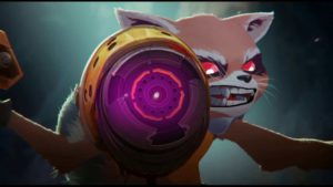 de la Raccoon Rocket Marvel & Groot animation test