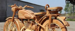 Motorcycle made entirely of wood