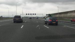 Taube fliegt auf Autobahn mit
