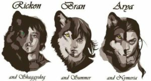 Game of Thrones: The Starks Their Dire Wolves