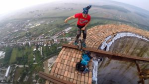 In a chimney in 256 Meters unicycling