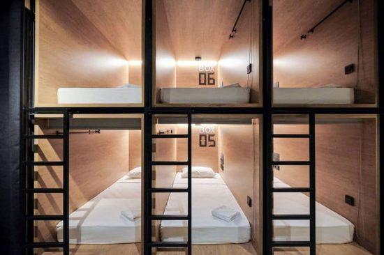 Bandeja de entrada Hotel cápsula: Schlafboxen für Reisende