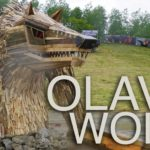 Olav the Wolf: built Great Wolf Sculpture of old wood
