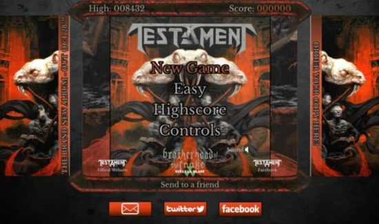 Testament: Browser-Game zum neuen album & quot; Confrérie du Serpent""