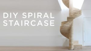 homemade spiral staircase made of plywood