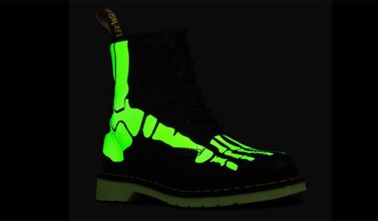 Dr. Martens with luminous skeletal feet