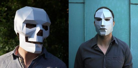 Halloween masks made of paper