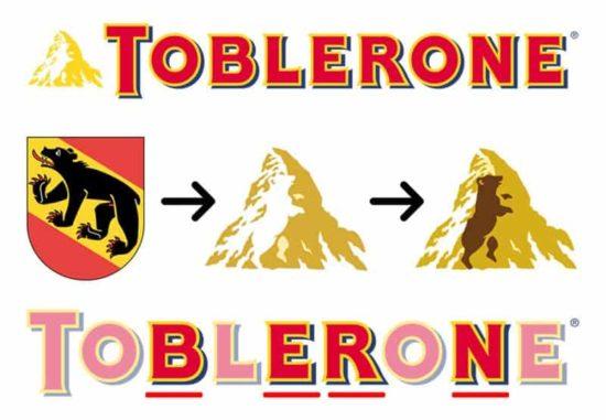 Die Toblerone kommen aus der Schweiz und zeigt versteckt im Matterhorn, dass sie in der Stadt Bern hergestellt wird