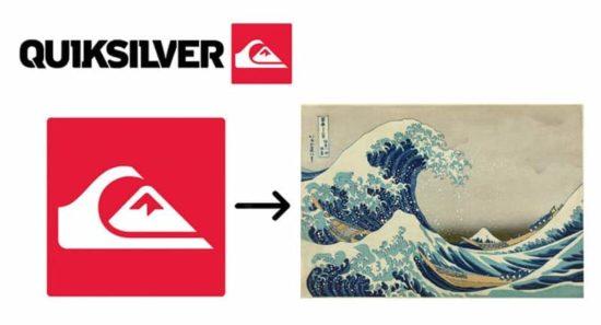 Eine stilisierte Version des berühmten Druckes der grossen Welle von Kanagawa