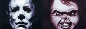 Horror faces painted with wine