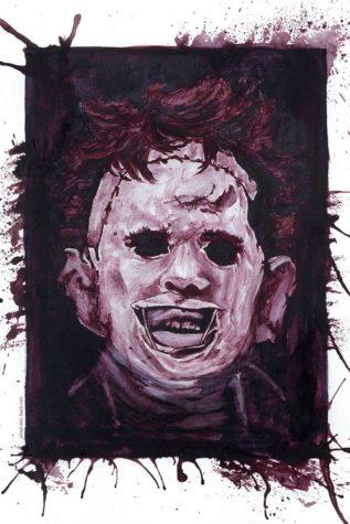 Horror-Fratzen mit Wein gemalt