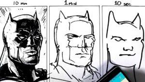 Batman Portrait, gezeichnet in 10 Min., 1 Min. und 10 Sek.