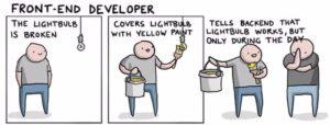 IT-Jobs erklärt mit einer kaputten Glühbirne