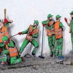 JAUNE eller roliga vägg liv byggnadsarbetare