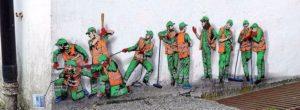 JAUNE veya inşaat işçilerinin komik duvar yaşamları