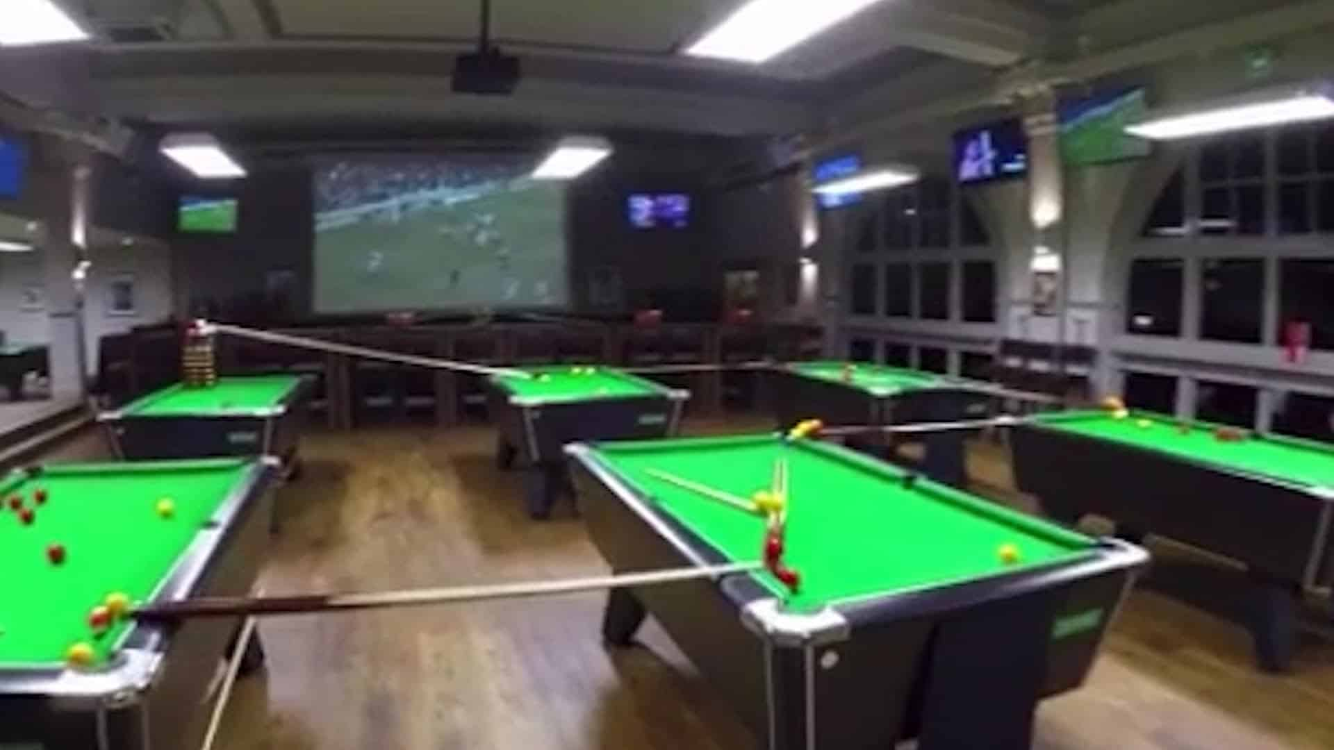 Billiards Trick Shot over dozens of pool tables away | Dravens Tales