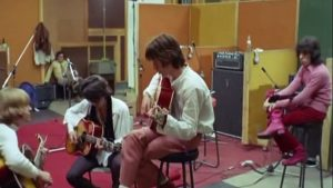 """The Rolling Stones"" 1968 bei den Aufnahmen zu ""Sympathy For The Devil"" i studio"