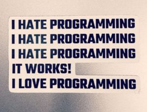 Cool Coding Sticker: I hate Programming I love Programming!