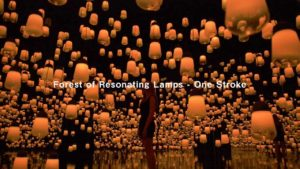 A forest full of hanging lamps