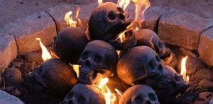 These refractory skulls in the fireplace a lasting impression