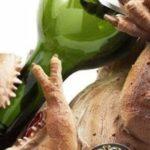 Weinsaufender T-Rex som en vin flaskeholder