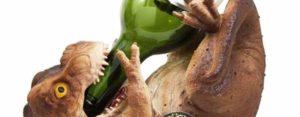 Weinsaufender T-Rex come supporto bottiglia di vino